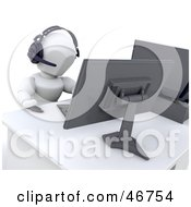 Royalty Free RF Clipart Illustration Of A 3d White Character Taking Phone Calls On A Headset At A Work Station by KJ Pargeter