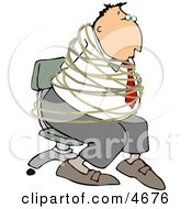 Hostage Businessman Tied With Rope To A Chair Clipart