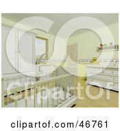 Royalty Free RF Clipart Illustration Of The Interior Of A Yellow Baby Room With A Mobile Suspended Over The Crib by KJ Pargeter