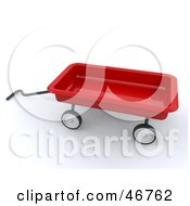 Royalty Free RF Clipart Illustration Of A 3d Red Toy Wagon With A Handle