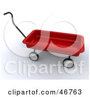 Royalty Free RF Clipart Illustration Of A 3d Red Childs Wagon With A Handle