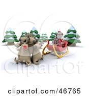 Royalty Free RF Clipart Illustration Of Reindeer Cuddling And Refusing To Pull Santas Sleigh by KJ Pargeter