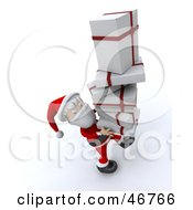 Royalty Free RF Clipart Illustration Of A Friendly Santa Claus Carrying A Tall Stack Of Christmas Gifts