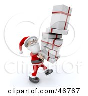 Royalty Free RF Clipart Illustration Of A Jolly Santa Carrying A Tall Stack Of Christmas Gifts