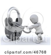 3d White Character Unlocking A Padlock With A Key by KJ Pargeter