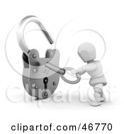 Royalty Free RF Clipart Illustration Of A 3d White Character Opening A Padlock