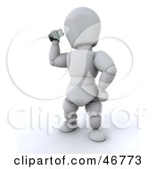 3d White Character Standing And Using A Mobile Phone