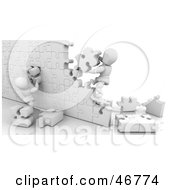 Royalty Free RF Clipart Illustration Of 3d White Characters Building A Puzzle Wall by KJ Pargeter