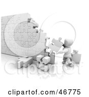 Royalty Free RF Clipart Illustration Of A 3d White Character Assembling A Puzzle Wall
