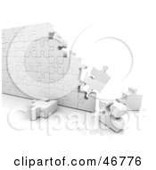 Royalty Free RF Clipart Illustration Of 3d White Puzzle Wall Nearly Complete by KJ Pargeter