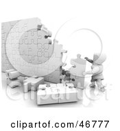Royalty Free RF Clipart Illustration Of A 3d White Character Completing A Puzzle Wall