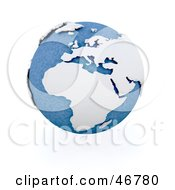 Royalty Free RF Clipart Illustration Of A Blue Globe Featuring Africa In White And 3d