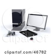 Royalty Free RF Clipart Illustration Of A Camcorder By A Desktop Computer