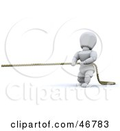3d White Character Pulling A Rope In A Game Of Tug Of War