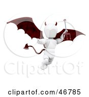 Royalty Free RF Clipart Illustration Of A 3d White Character Devil Flying And Carrying A Trident by KJ Pargeter