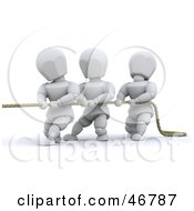Royalty Free RF Clipart Illustration Of 3d White Characters Working Together During A Game Of Tug Of War by KJ Pargeter