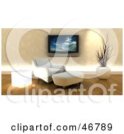 Royalty Free RF Clipart Illustration Of A Wall Mounted Plasma Tv Over A 3d Chair And Ottoman