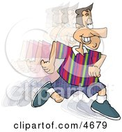 Smiley Man Running And Burning Calories Clipart