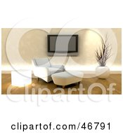 Royalty Free RF Clipart Illustration Of A Modern White 3d Chair And Ottoman Under A Wall Mounted Plasma Tv by KJ Pargeter