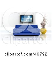 Royalty Free RF Clipart Illustration Of A Blue 3d Sofa And Vase Under A Plasma Tv In A Modern Living Room by KJ Pargeter