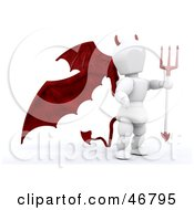 3d White Character Devil With Red Wings, A Tail And A Trident