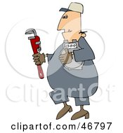 Gas Man Carrying A Meter And A Wrench