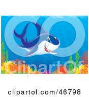 Royalty Free RF Clipart Illustration Of A Friendly Shark Swimming Over A Colorful Ocean Reef by Alex Bannykh