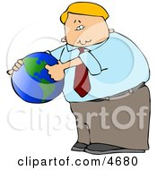 Businessman Pointing Out America On A Globe Clipart