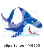 Royalty Free RF Clipart Illustration Of An Airbrushed Style Blue Shark With Green Eyes