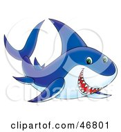 Royalty Free RF Clipart Illustration Of A Blue And White Shark Grinning