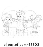 Royalty Free RF Clipart Illustration Of A Black And White Outline Of Siblings Holding Their Arms Open
