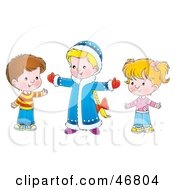 Royalty Free RF Clipart Illustration Of A Big Sister Gesturing And Talking To Her Siblings