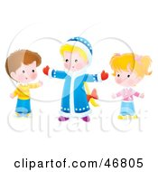 Royalty Free RF Clipart Illustration Of Children Holding Their Arms Open
