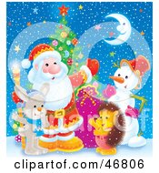 Royalty Free RF Clipart Illustration Of A Hedgehog Snowman And Bunny Waving With Santa On A Snowy And Starry Night