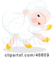 Royalty Free RF Clipart Illustration Of A Running White Lamb With White Fleece by Alex Bannykh