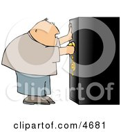 Overweight Man Unlocking A Heavy Duty Safe Clipart