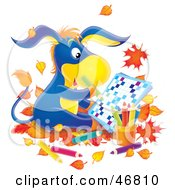 Royalty Free RF Clipart Illustration Of A Blue Donkey Sitting In Autumn Leaves And Doing A Word Puzzle by Alex Bannykh