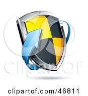 Royalty Free RF Clipart Illustration Of A Blue Arrow Circling A Black And Yellow Protective Shield by beboy
