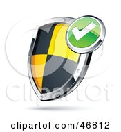 Royalty Free RF Clipart Illustration Of A Check Mark Black And Yellow Protective Shield by beboy