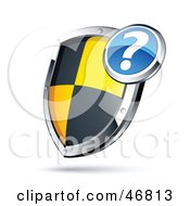 Royalty Free RF Clipart Illustration Of A Question Mark Over A Black And Yellow Protective Shield by beboy