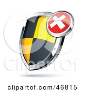 Royalty Free RF Clipart Illustration Of An X Over A Black And Yellow Protective Shield by beboy