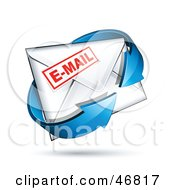 Royalty Free RF Clipart Illustration Of A Blue Arrow Circling A Sealed Stamped Email Envelope