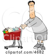 Man Pushing A Shopping Cart Filled With Food In A Grocery Store Clipart
