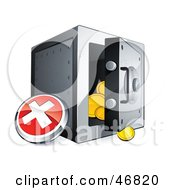 Royalty Free RF Clipart Illustration Of A Red X Button Beside An Open Safe