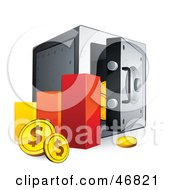 Royalty Free RF Clipart Illustration Of A Bar Graph With Dollar Coins Beside A Safe