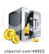 Royalty Free RF Clipart Illustration Of Euro Coins Beside An Open Safe