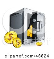 Royalty Free RF Clipart Illustration Of Dollar Coins Beside An Open Safe