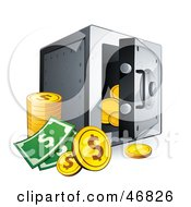Royalty Free RF Clipart Illustration Of Dollar Coins And Cash By An Open Safe