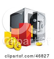 Royalty Free RF Clipart Illustration Of A Bar Graph With Euro Coins Beside A Safe