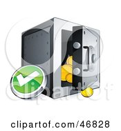 Royalty Free RF Clipart Illustration Of A Green Check Mark Button Beside An Open Safe